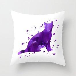 Violet watercolor cat Throw Pillow