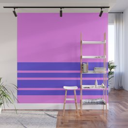 Violet Slate Stripes Blue Wall Wall Mural