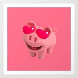 Rosa the Pig love Eyes Art Print