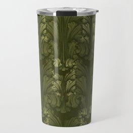 Olive Green Classic Acanthus Leaves Pattern Travel Mug