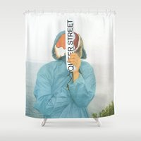 queer Shower Curtains featuring I`m on the queer street by Pilar Diamante