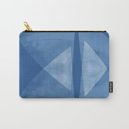 Mid Century Modern Blue and White Geometric Abstract Carry-All Pouch