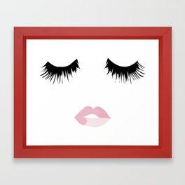 Eyelash Lip Print Framed Art Print