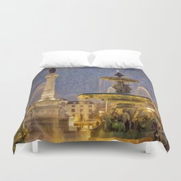 Rossio fountain at night Duvet Cover