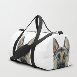 German Shepard Dog illustration original painting print Duffle Bag