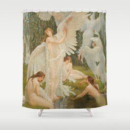 White Swans and the Maidens angelic garden landscape painting by Walter Crane  Shower Curtain