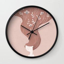 Woman in rose Wall Clock