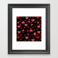 Valentines Hearts black Framed Art Print