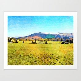 Castlerigg Stone Circle, Keswick, Cumbria, England. Watercolor Painting Art Print