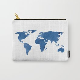Map - Blue World Map Watercolor Carry-All Pouch