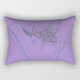 Girl with flower on purple paper Rectangular Pillow