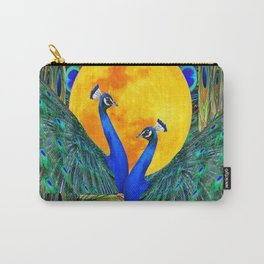 FULL GOLDEN MOON & 2  BLUE PEACOCKS PATTERN ART Carry-All Pouch