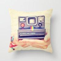 polaroid Throw Pillows featuring Polaroid by Irene Miravete
