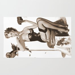 No You Don't by Gil Elvgren Sepia Pin Up Girl Rug