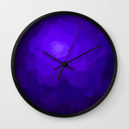Glowing Blue Rose Emerging from  Darkness Wall Clock
