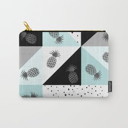 Teal black white dots pineapple geometrical color block Carry-All Pouch