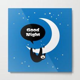 Childrens Room Illustration for Girls and Boys – Good Night Sloth Metal Print