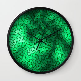 Stained glass texture of snake green leather with bright heat spots. Wall Clock