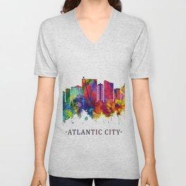 Atlantic City New Jersey Skyline Unisex V-Neck