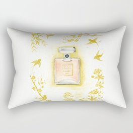 COCO Mademoiselle, Perfume, Watercolor painting, Fashion Art, Gold Rectangular Pillow