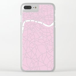 London Pink on White Street Map Clear iPhone Case