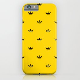 Black Crown pattern on Yellow background iPhone Case