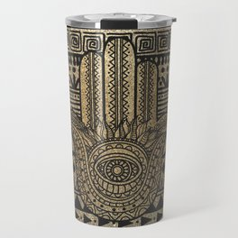 Native Pattern Golden Hamsa Hand Travel Mug
