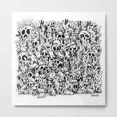 Bunnies & Skulls Metal Print