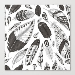 Black and white feathers pattern Canvas Print