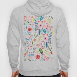Cute colorful botanical flowers and leafs pattern Hoody