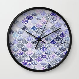 Purple and Ultra Violet Trendy Glitter Mermaid Scales Wall Clock