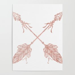 Tribal Arrows Rose Gold on White Poster