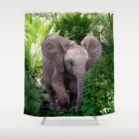 baby elephant Shower Curtains featuring Baby Elephant by Erika Kaisersot