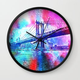 Colorful New York Pink Blue Photograph Wall Clock