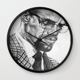 Print of free hand graphite pencil drawing of Malcolm X Wall Clock