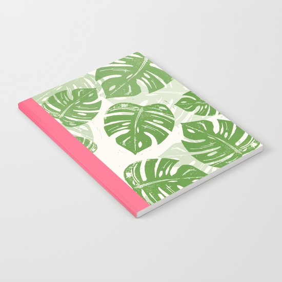 Linocut Monstera Leaf Pattern Notebook
