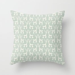 Little Christmas deers pastel pattern Throw Pillow