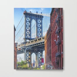 Street View of the  Manhattan Bridge Brooklyn Tower, New York City Metal Print