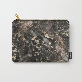 Gold Vein Black Marble Design Carry-All Pouch