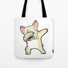 Funny Cream French Bulldog Dabbing Tote Bag