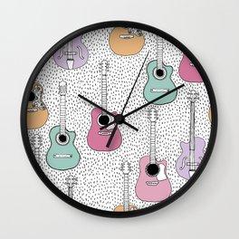 Cool pop music guitar illustration pattern Wall Clock