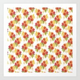 Fall Dahlia - Orange and Yellow Art Print