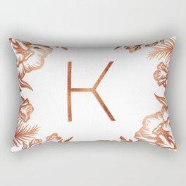Letter K - Faux Rose Gold Glitter Flowers Rectangular Pillow