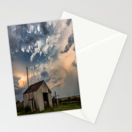 August Eve - Storm Sky Over Old Barn in Oklahoma Stationery Cards