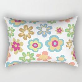 Retro 60s Hippie Flowers Rectangular Pillow