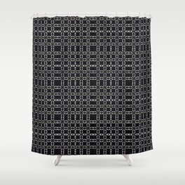 Black with White Stitching Tiled Pattern Shower Curtain