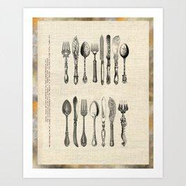 antique cutlery Art Print