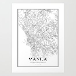Chiang Mai City Map Thailand White and Black Art Print