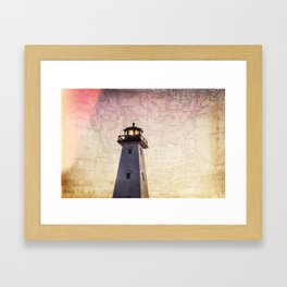 Lighthouse Map Framed Art Print