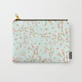little cherry blossom pattern on mint green Carry-All Pouch